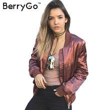 BerryGo MA-1 атласная бомбардировщик куртка женщин пальто Мягкий браслет рукавом основные куртки весте куртка Осень зима уличная куртка(China (Mainland))