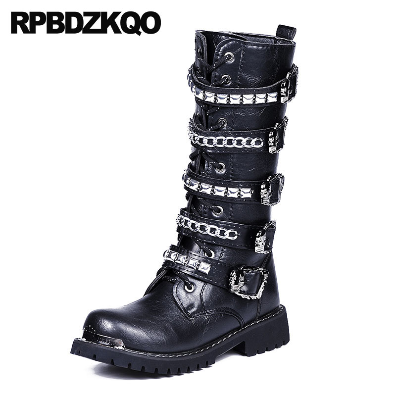 цена на rock metalic luxury combat motorcycle black chunky stud mid calf rivet military shoes punk mens leather tall boots high quality
