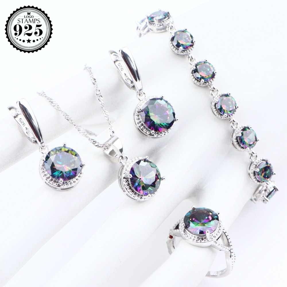 Magic Rainbow Stones 925 Sterling Silver Jewelry Sets Zirconia Earrings Rings For Women Bracelets Pendant Necklace Set Gift Box