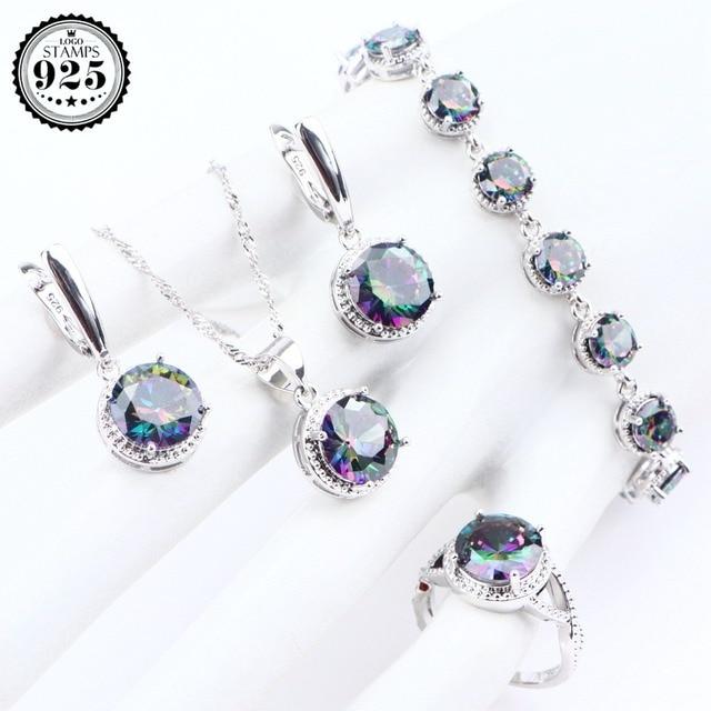 839210f878da La magia de las piedras la joyería plata esterlina 925 Zirconia pendientes  anillos para mujeres pulseras COLLAR COLGANTE conjunto caja regalo