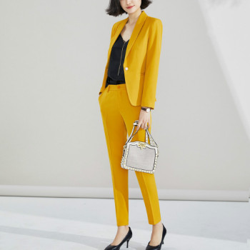 Womens suit 2019 autumn new casual career West slim body pants two sets of temperament large size womens clothing