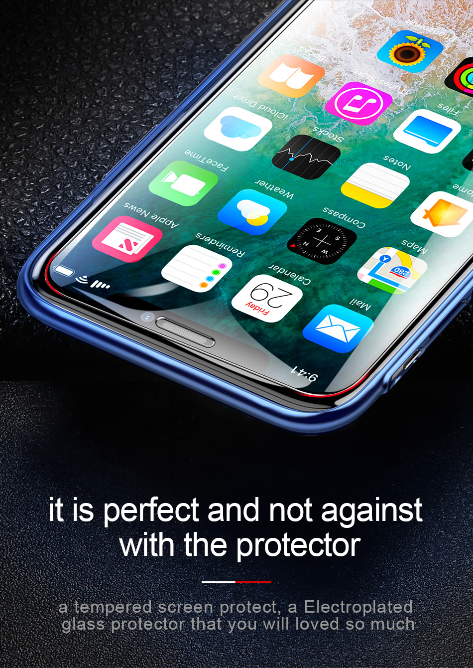 Baseus Screen Protector For iPhone Xs Max Xs XR Glass 0.3mm Thin 9H Tempered Glass For iPhone Xs Max X Protective Glass 2018