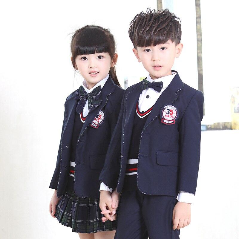 Uniformes escolares para os alunos da escola primária do miúdo 3 pcs terno