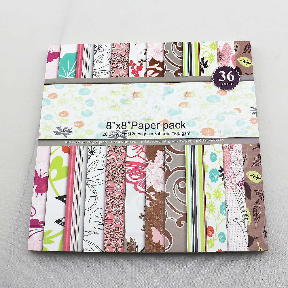 Scrapbook paper cheap - 8 Inch Craft And Scrapbook Paper Kit 36 Sheets Lot Acid Free For Background Paper