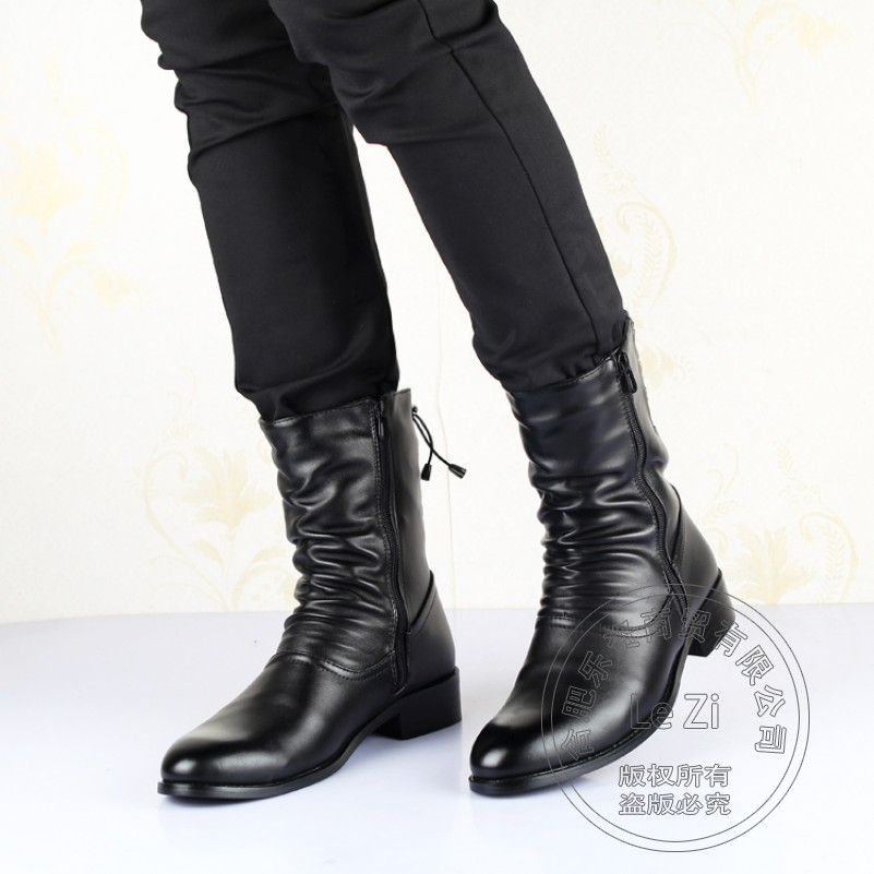 ФОТО Biker Motorcycle Winter Boots Back Lace Up Men Pointy Booties Leather Hi Street Youth Half Knee High Pleated Zip Bota Militar