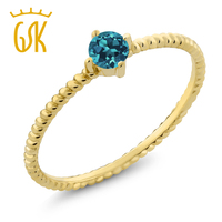 10K Yellow Gold 0 20 Ct Round London Blue Topaz Engagement Solitaire Ring