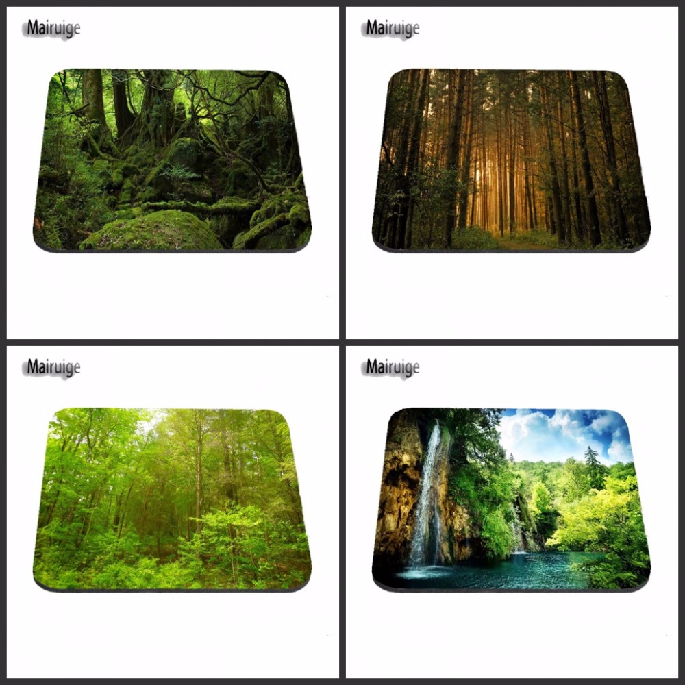 New Arrival Deep In Green Forest Anti-Slip Rectangle Mouse Pad Customized Supported  Decorate You Desk 18*22/25*20/29*25*2cm
