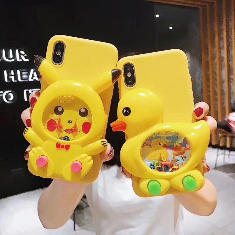 3D Game Duck Case Liquid Silicone Cover For iPhone 11 Pro Max 6 6s 7 8 Plus X Xs Max XR 5s 5 Pikachu SpongeBob Reduce Stress Toy|Fitted Cases|   - AliExpress