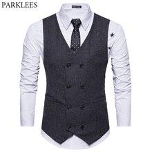 Fashion Double Breasted Woolen Suit Vest Men 2018 Spring New Sleeveless Wool Vest Waistcoat Mens Slim Fit Wedding Business Vests
