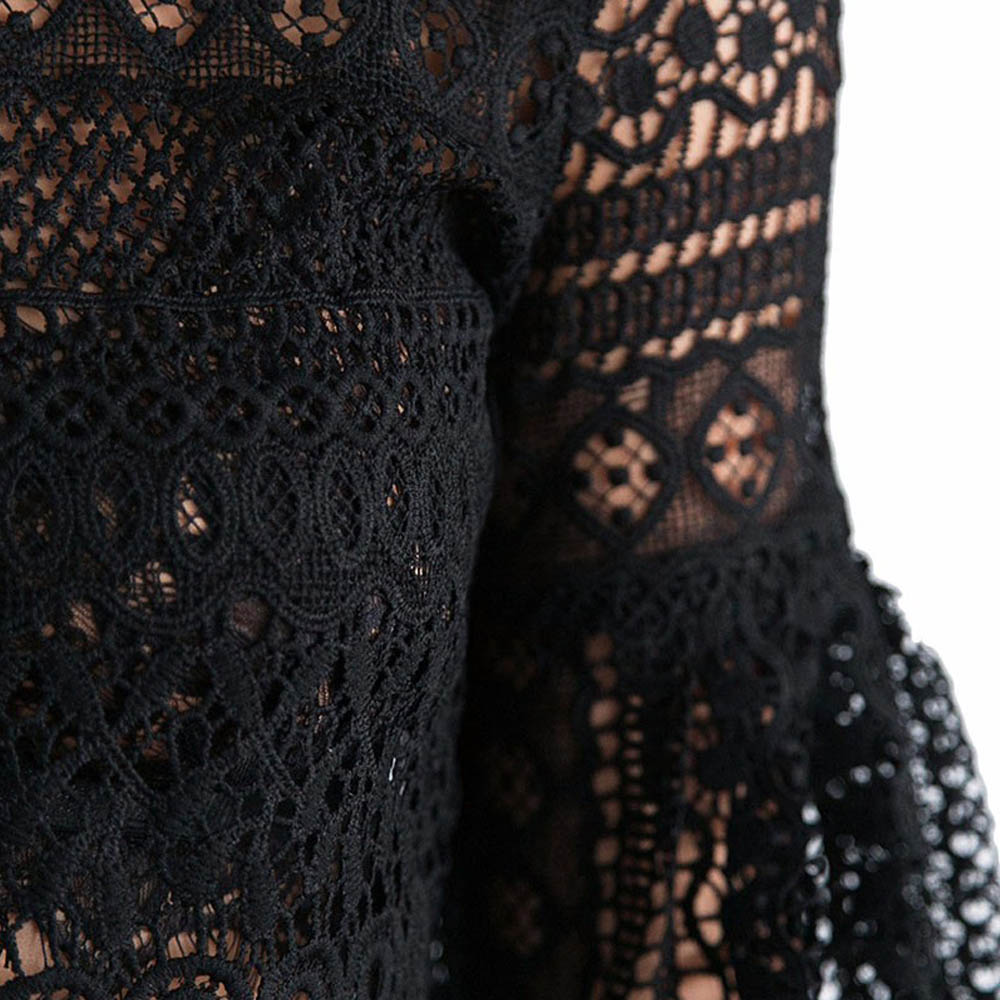 VESTLINDA Sexy Lace Hollow Out Blouse Shirt Women Blusas Feminina 2017 O Neck Lantern Sleeve Blusa Ladies Elegant Lace Blouse 20