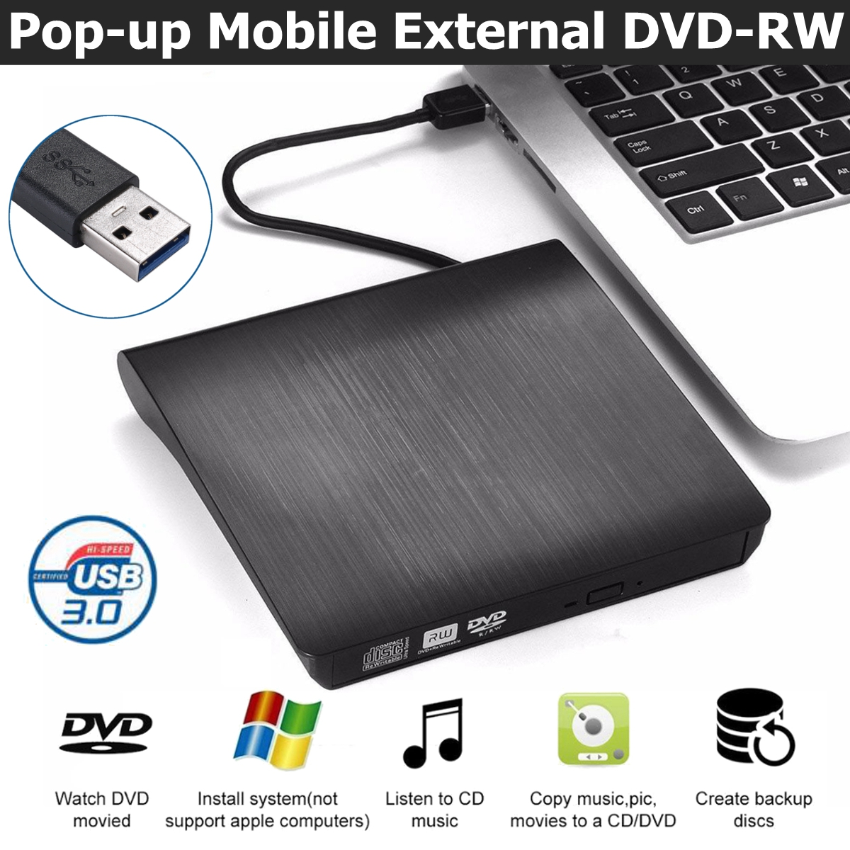 Slim External <font><b>DVD</b></font> Drive <font><b>USB</b></font> 3.0 <font><b>DVD</b></font>-<font><b>RW</b></font> CD-<font><b>RW</b></font> Combo Drive Burner Reader Player Recorder Portatil for Laptop image