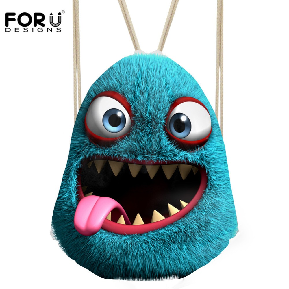 FORUDESIGNS Cute Monster Printed Cartoon Drawstring Bag Women Backpack Female Travel Beach Storage Bags School Girls Bagpack