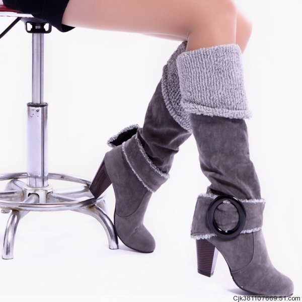 ФОТО 43 Plus Size Square Heel Women Snow Boots 2015 Hot Sale Ladies Knee High Boots Buckle Thick Heel Winter Warm Shoes