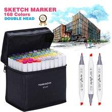 Art Marker 30/40/60/80/168 Colors Marker set Alcoholic Based Markers pen Dual Head Sketch Marker Brush Pen For Draw Manga Design