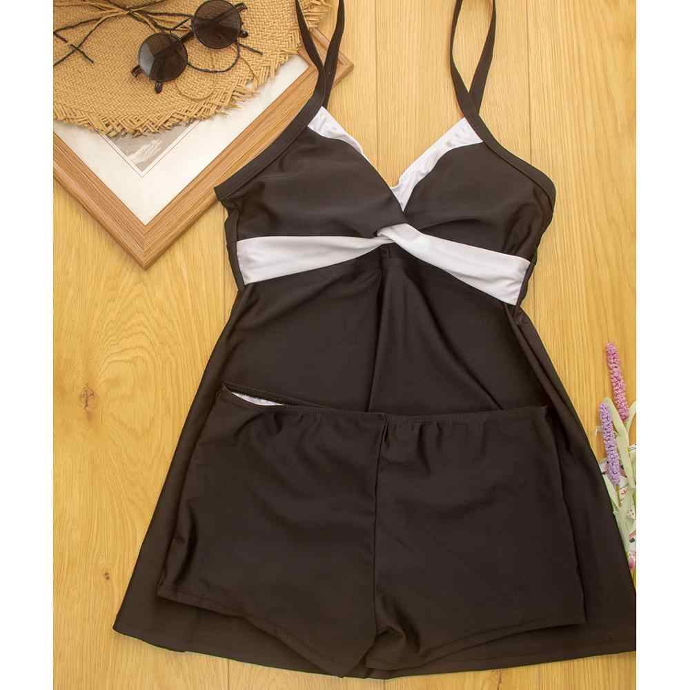 Maiô tankini feminino plus size retrô, roupa de banho preta para mulheres, duas peças, maiô retrô, tamanho grande, 2020 s-5XL