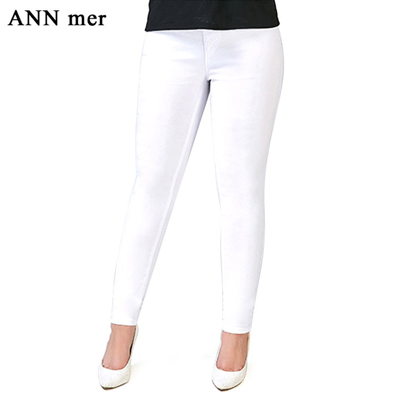 ANN mer High Elastic Waist Ankle-Length Pants for Women Plus Size S-5XL Slim Thin Solid Casual Trousers Women Pencil Pants casual fashion women s loose jeans high waist elastic waist straight denim ankle length pants slim ladies plus size trousers