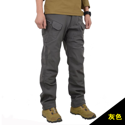 Fleece slim shark skin soft shell pants outdoor waterproof windproof tactical male thick warm pants