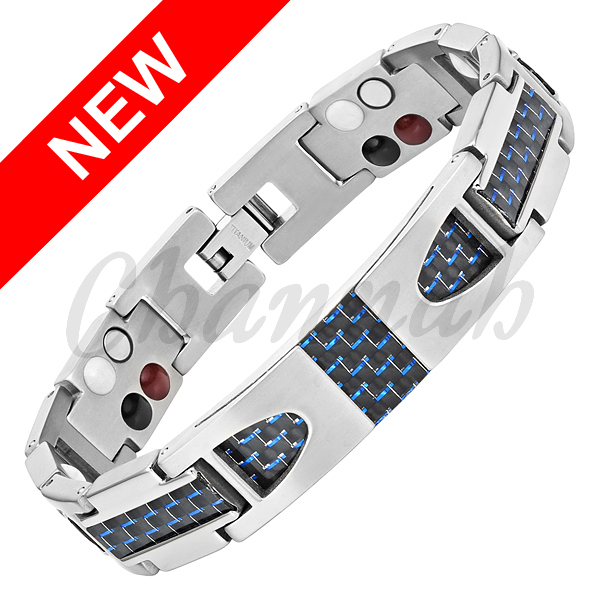 Channah 2017 Titanium 4in1 Bracelet Magnetic Silver Blue Black Carbon Fiber Bio Health Men Germanium Free Shipping Bangle Charm