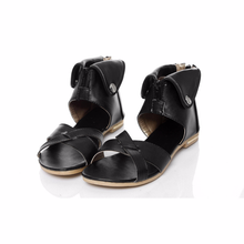 LISM 2018 summer new female sandals fashion flanging metal exposed toe flat with large size womens shoes