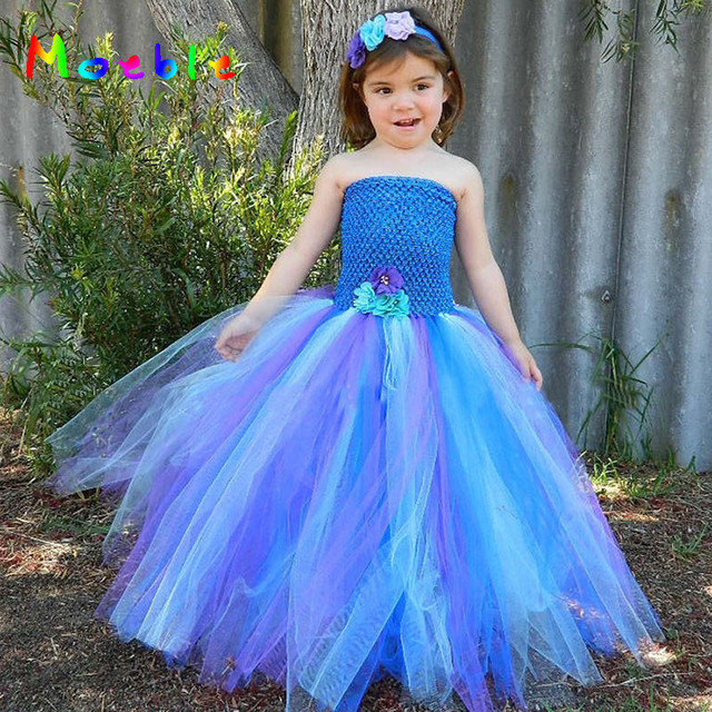 7ff2fbcfe 2018 Purple Blue Peacock Tutu Dress for Girls Kids Festival Holiday Party  Pageant Ball Gown Flower Girl Dresses Vestido Infantil