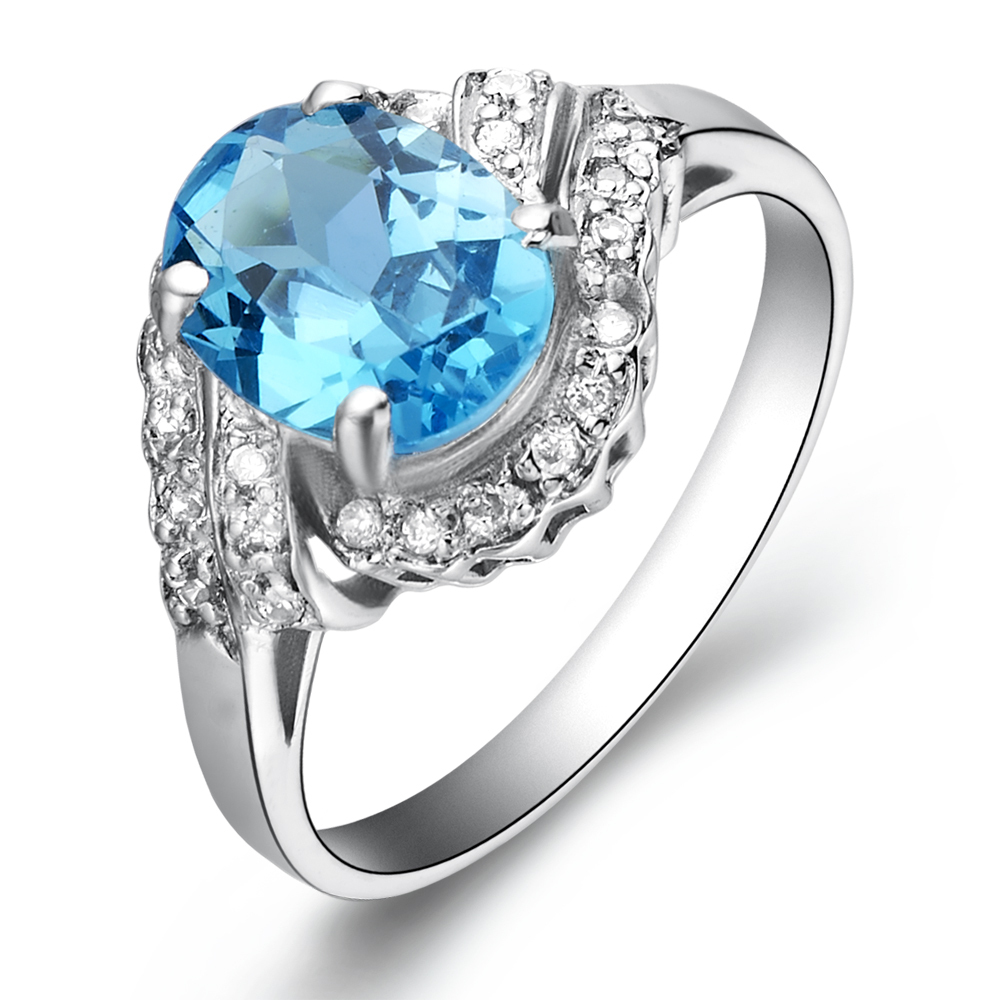 Natural Blue Topaz 2 carat Ring 925 Sterling silver Woman Fashion Fine Elegant Jewelry Princess Birthstone Gift sr0017b anniversary ring necklace earrings jewelry set natural aaa blue topaz stone birthstone woman fine 925 sterling silver jewelry