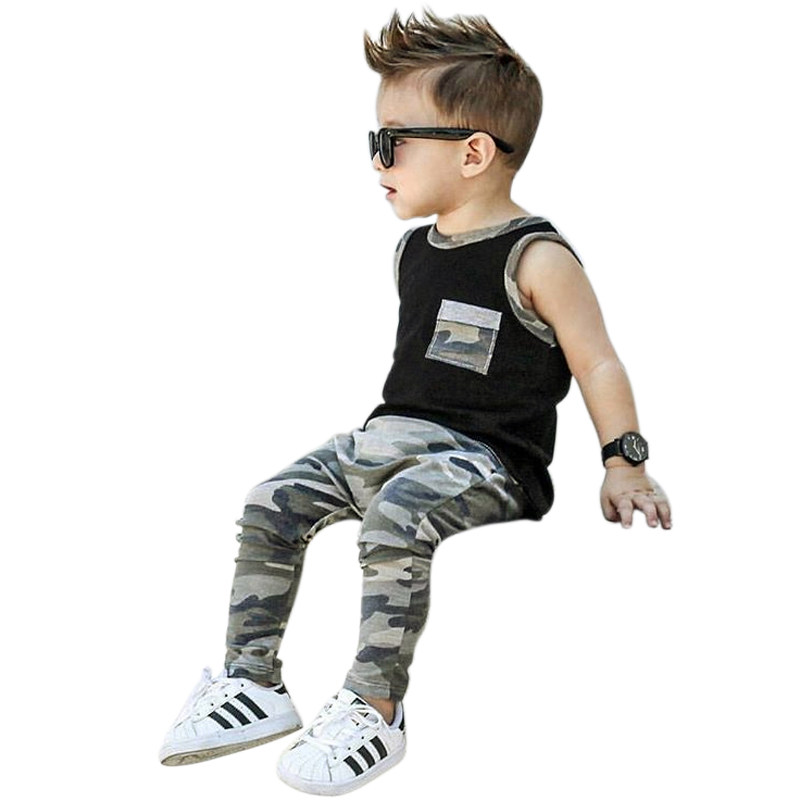 5d70dd37229 2018 Summer Baby Boys Clothes Set Outfits Camouflage Tops+Long Pants  Leggings Cute Kids Baby
