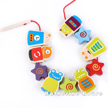 2016 New Arrival Baby Toys Animals Dress Beads Mermaid Monster Beech Wood Education Early Learning