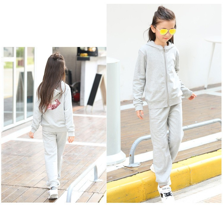 2016 character tracksuits childrens clothing for girls kids hooded hoodies coats pants girl clothes suits gray pink sports sets  5 6 7 8 9 10 11 12 13 14 15 16 years old little big teenage girls clothing set (7)