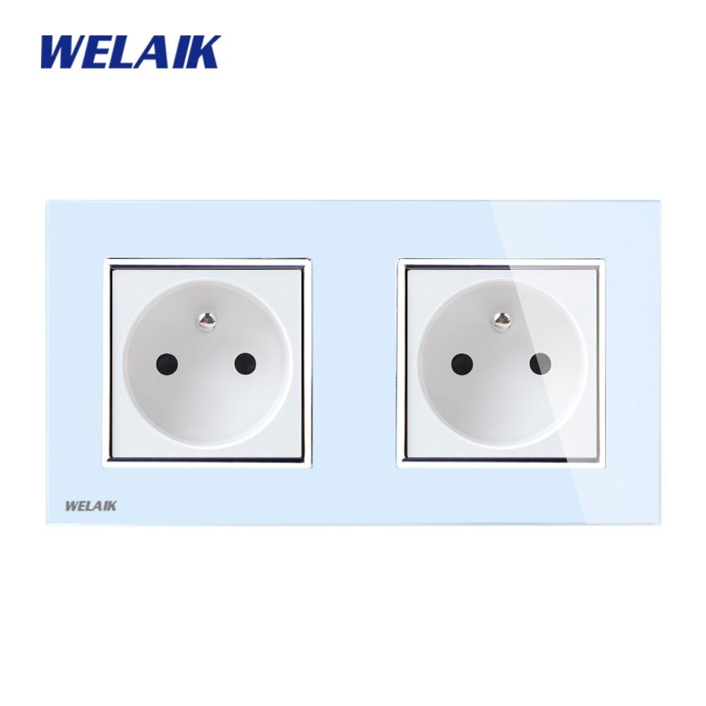 WELAIK Glass Panel EU Wall Socket Wall Outlet White Black French Standard Power Socket AC110~250V A28F8FW/B welaik glass panel wall socket wall outlet white black european standard power socket ac110 250v a38e8e8ew b