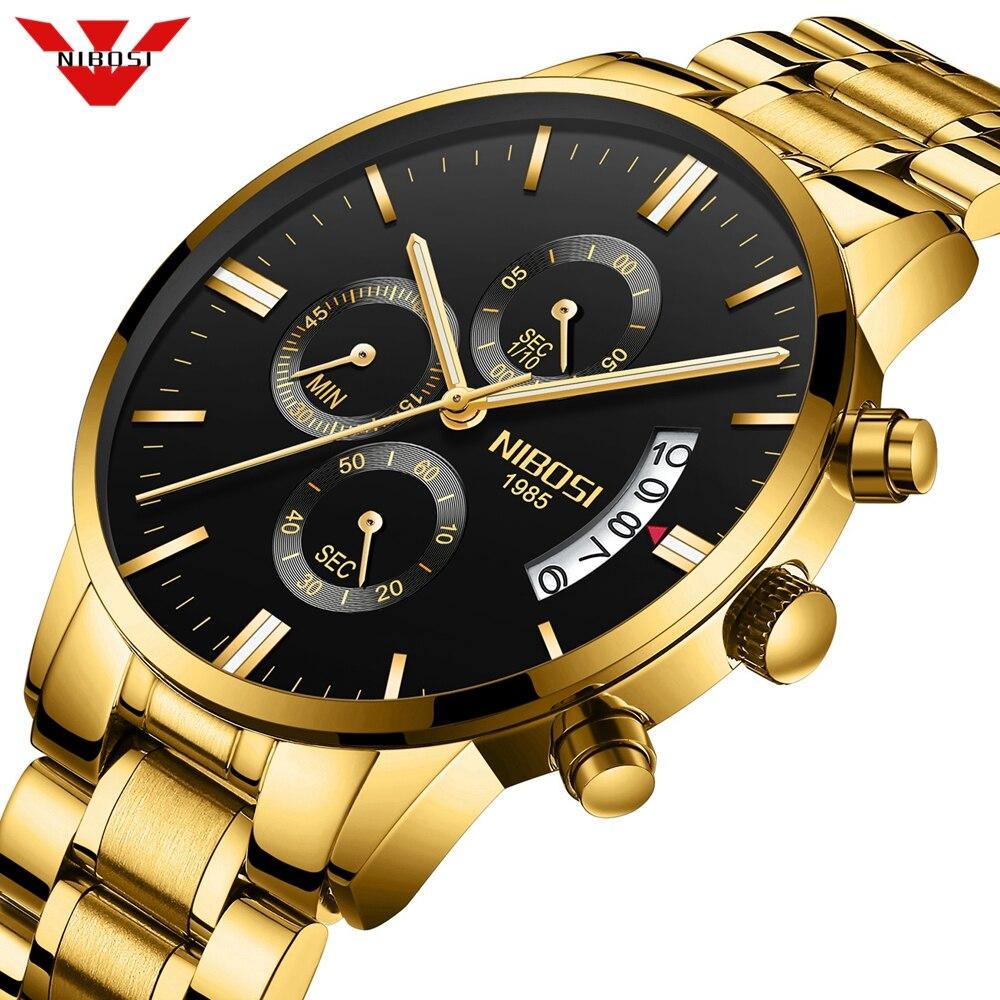 Nibosi homens relógios de luxo marca superior militray esporte relógio de quartzo masculino à prova dwaterproof água relógio de pulso relogio masculino