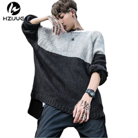 HZIJUE 2017 New Fashion Vintage Men Sweater Hip Hop Oversized Two Colors Stitching High Quality Sweater