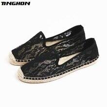 Fashion Ethnic Casual Espadrilles Black lace White Flat New Women Spring Printed Embroider Slip on Fishermen Hemp Rope Shoes