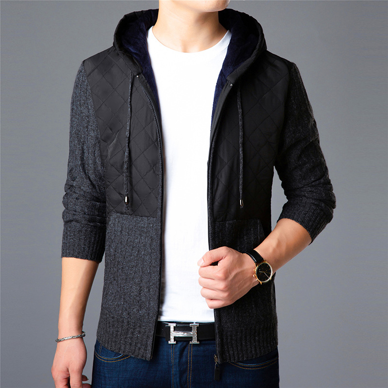 Sweaters, Men's Knitting Shirts, Autumn And Winter, Plus Thick, Thick Zippers, And A Hooded Sweater Jacket.