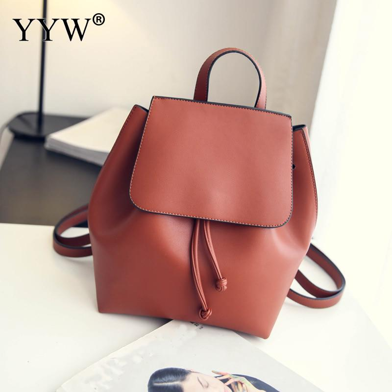 Small Bucket Bags Pu Leather School Backpack For Women Vintage Solid Black Cheap Shoulde ...