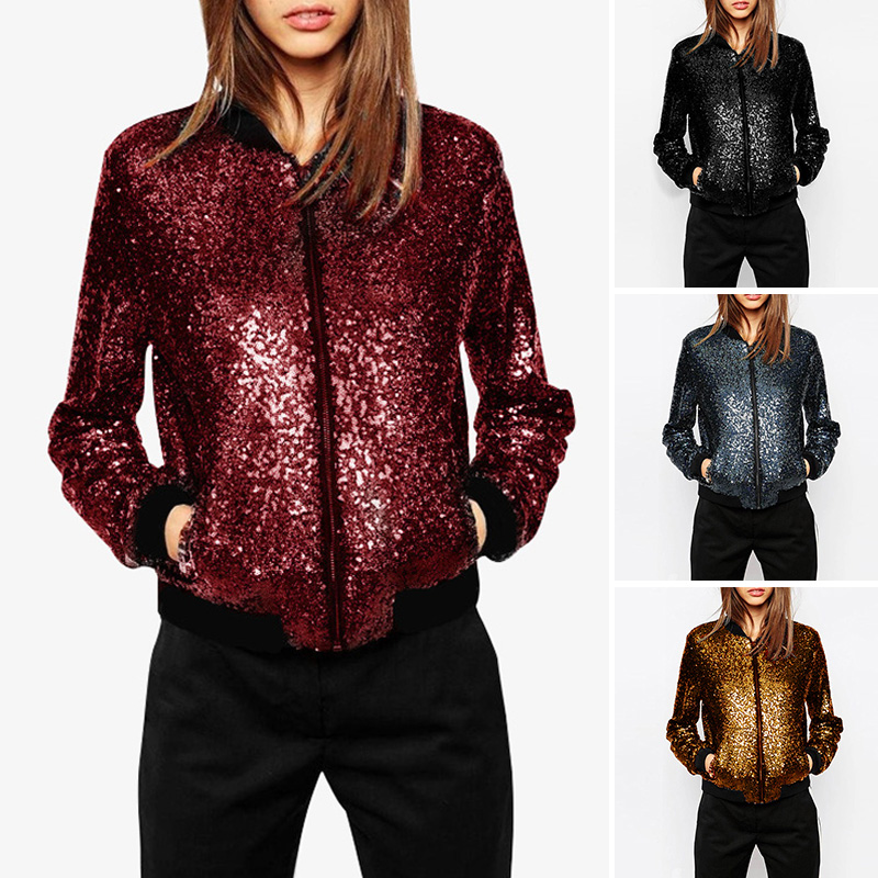 Sequined Loose Bomber Jacket 4