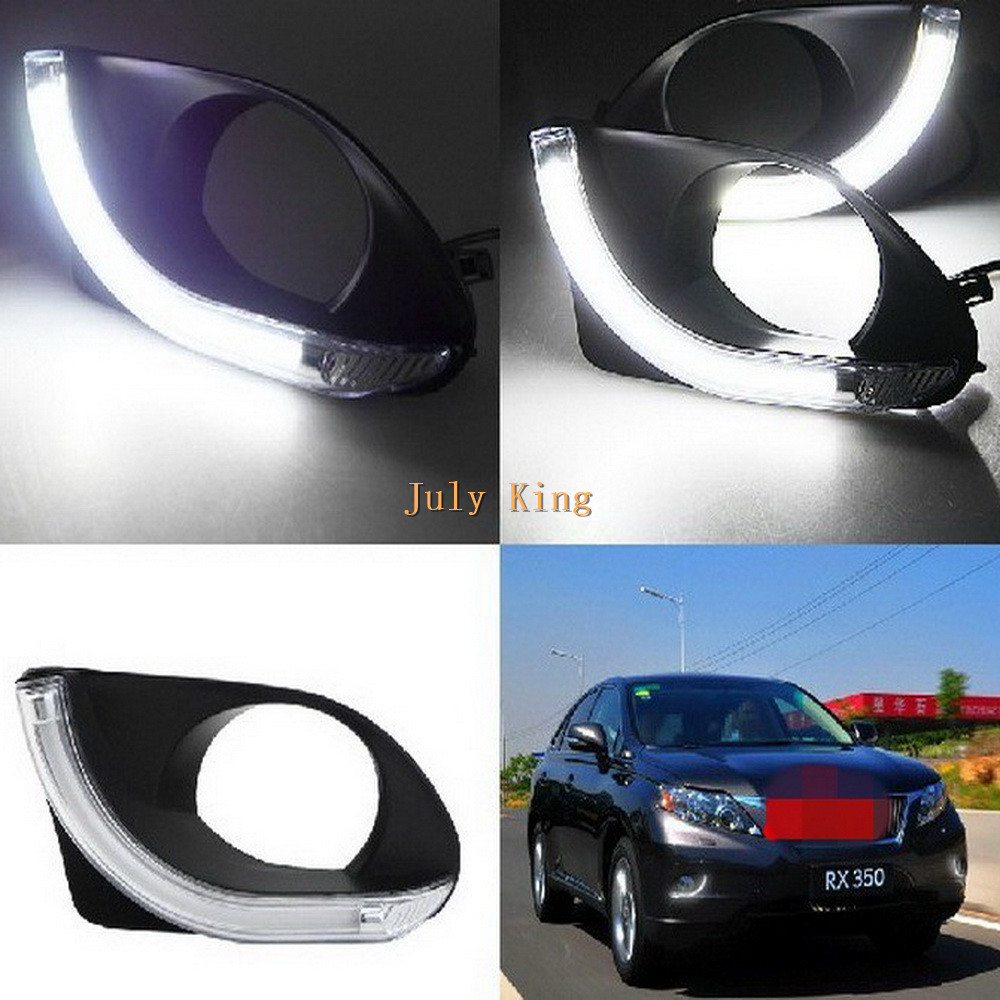 July King LED Light Guida Daytime Running Lights DRL with Fog Lamp Cover Case for Lexus RX350 2010-2012, Made at Taiwan front bumper led fog lamp daytime running light replacement assembly 2p for lexus rx rx350 rx450h 2010 2011 2012 2013