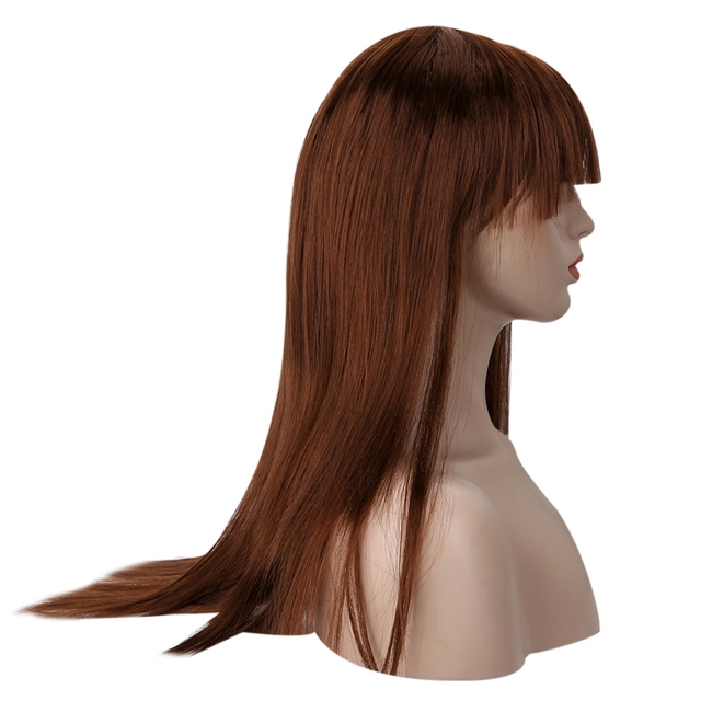 Long Straight Brown Wig with Bangs