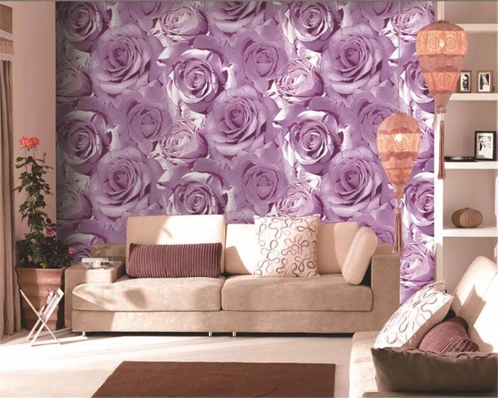 ФОТО Beibehang Simple Pastoral Rose High Flower 3D Wallpaper Living Room Background Wallpaper.wallpaper for walls 3 d papel de parede