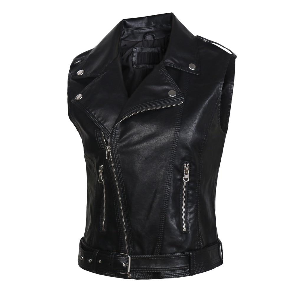 leather   vests women fashion 2019 PU   leather   vest winter belt patterns motorcycle vest slim outerwear Waistcoat Jacket in Stock