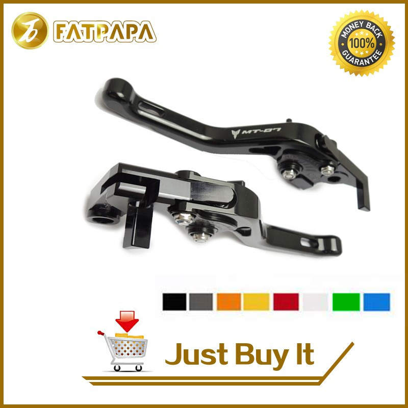 FATPAPA -8 colors Motorcycle Accessories CNC MT07 Short Brake Clutch Brake Lever For Yamaha FZ-07 MT07 2014 2015 2016 2017