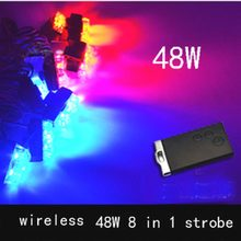 48W Wireless Control Super power Strobe flash led warning light Car Working light DRL Strobe Police Fireman Caution pilot Lamp
