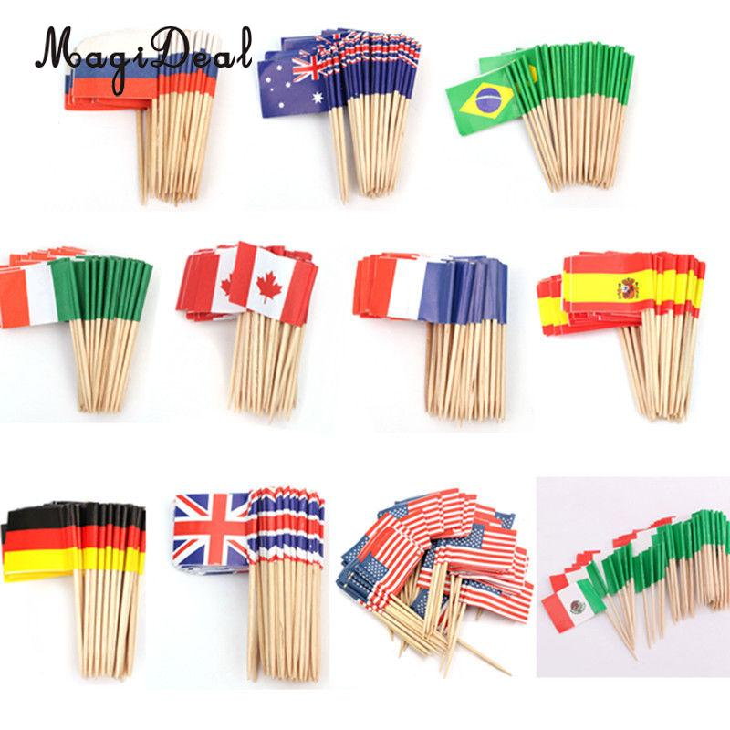 MagiDeal 50pcs/Lot American UK France Germany Canada Sweden Flag Cake Toppers Food Cupcake Picks  Patriots Party Cake Decor