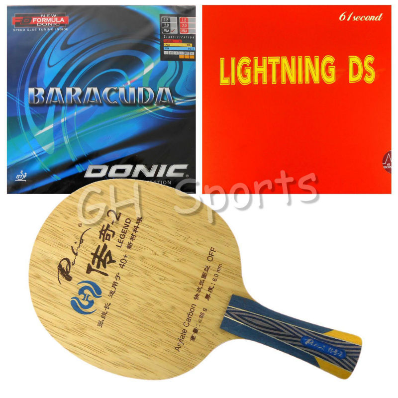 Pro Table Tennis PingPong Combo Racket Palio Legend-2 with 61second Lightning DS and Donic BARACUDA 12080 Long shakehand FL donic baracuda page 1