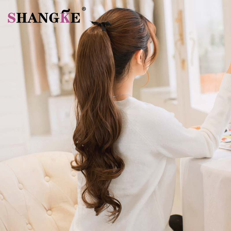 SHANG KE Long Wavy Ponytail Hairpieces Heat Resistant Fake Hairstyles Long Wavy Flip Clip in Hair Extensions Hair Tail Ponytail in Synthetic Ponytails from Hair Extensions Wigs