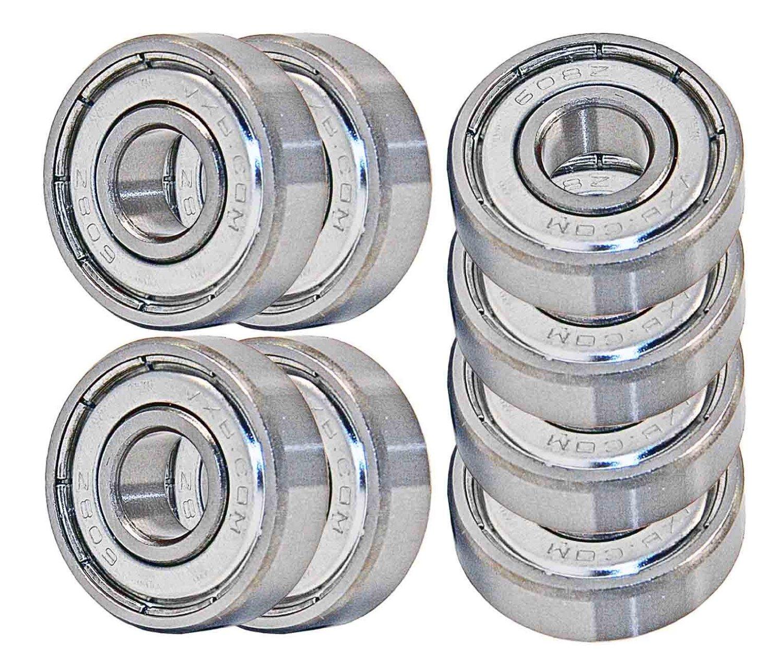 VXB 608 ZZ Skateboard Bearings, Double Shielded, Silver (Pack Of 8)