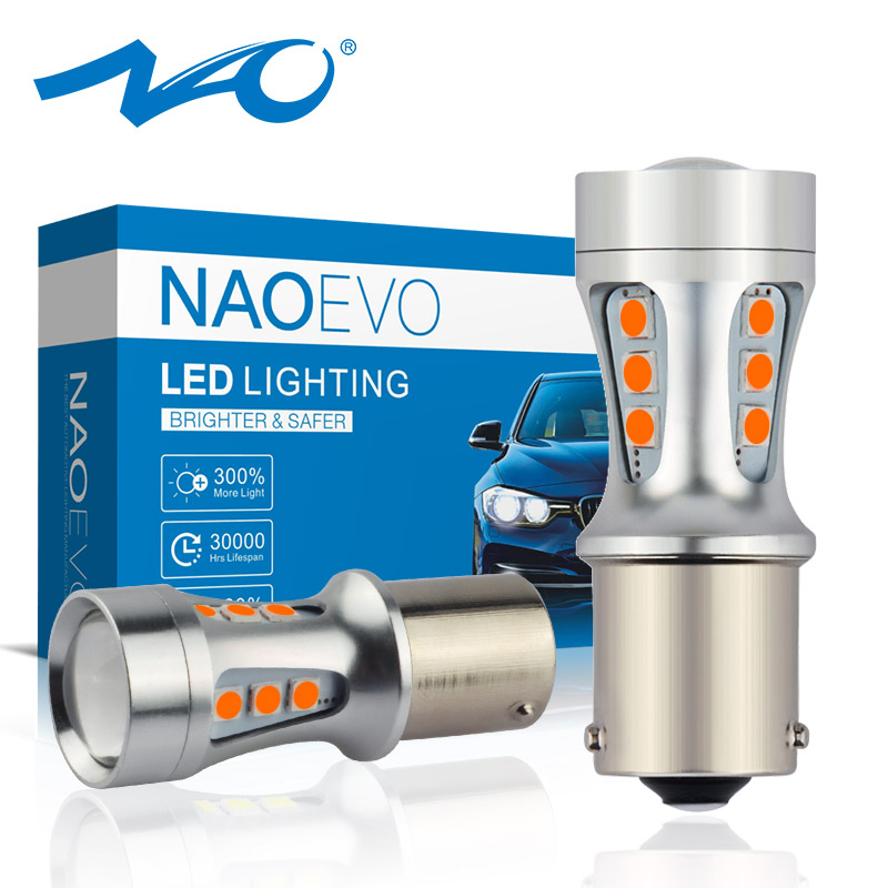 NAO PY21W LED BAU15S Amber 3030 1200Lm SMD 1156 Auto <font><b>Bulb</b></font> Car Light <font><b>12V</b></font> DRL <font><b>5W</b></font> White Red Front Turn Signal Reverse Lamp 6000K image