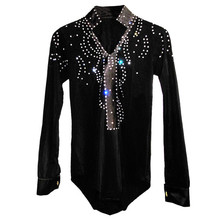 2017 New Arrival Man Ballroom Dance Tops Long Sleeve Latin Shirts Men Dance Shirt Jazz Waltz