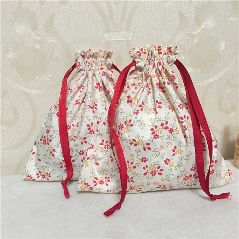 YILE Cotton Twill Drawstring Travel Sorted Organizer Bag Party Gift Bag Red Rural Flower 8507-4