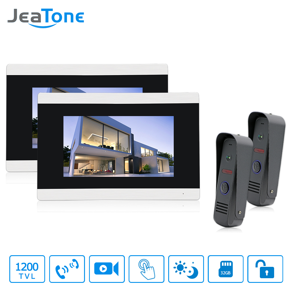 Jeatone 7 Inch Video Door Phone HD 1200TVL IR Night Vision Outdoor Camera  Doorbell Hands-Free Monitor Motion Detection Alarm jeatone 10 hd wired video doorphone intercom kit 3 silver monitor doorbell with 2 ir night vision 2 8mm lens outdoor cameras