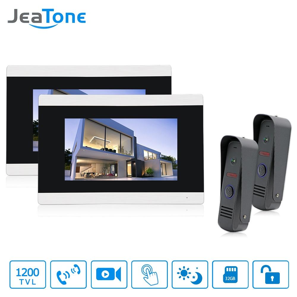 Jeatone 7 Inch Video Door Phone HD 1200TVL IR Night Vision Outdoor Camera  Doorbell Hands-Free Monitor Motion Detection Alarm